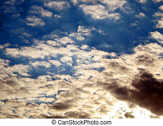 Sky. The combination of clear blue sky and thunderous. -...