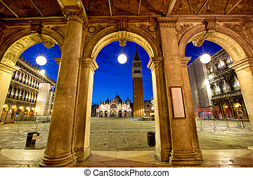 San Marco Square at twilight in Venice, Italy