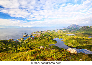 Aerial view of Lofoten Islands - Fishing village Kabelvag...
