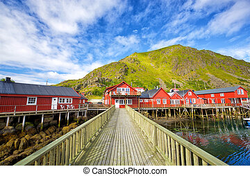 Traditional Lofoten houses - Norwegian red houses rorbu in...