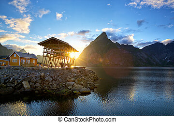 Lofoten Islands landscape - Sunset time in Lofoten Islands,...