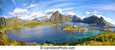 Lofoten summer landscape - Reine fishing village and...