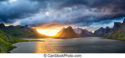Lofoten sunset panorama - Sunset time in Lofoten Islands,...