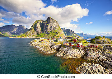 Fishing huts in Lofoten - Hamnoy fishing village, Reine,...