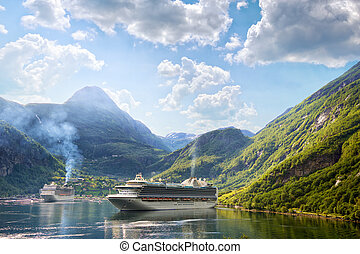 Cruise ships in Geiranger - Cruise liners anchored at...