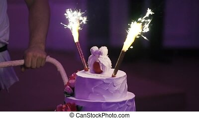 Celebration cake at the party with fireworks