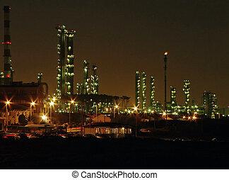 aceite, refinería, noche