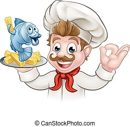 Fish and Chips Cartoon Chef - A cartoon chef character...