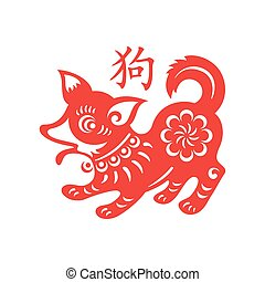 Dog Lunar year papercut symbol with name in Chinese