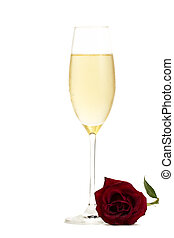 cold glass of champagne with a wet red rose on white background