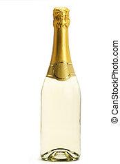 standing, champagne, bottiglia, bianco, fondo