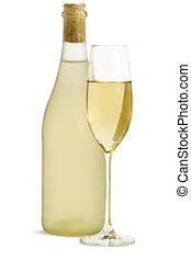standing, fondo, monotono, vetro, bottiglia, fronte, bianco,...
