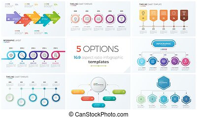 Collection of eight vector templates for infographics with 5...