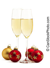 due, occhiali, champagne, uno, dorato, Tre, rosso, Natale,...