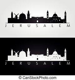 Jerusalem skyline and landmarks silhouette, black and white...