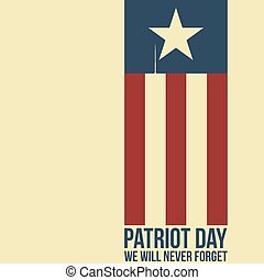 Patriot day. Two twin towers depicted on the flag.