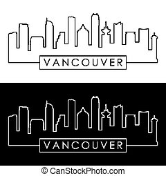 Vancouver skyline. Colorful linear style. Editable vector...