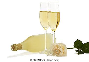 fondo, rosa, due, monotono, cremoso, bottiglia, fronte,...