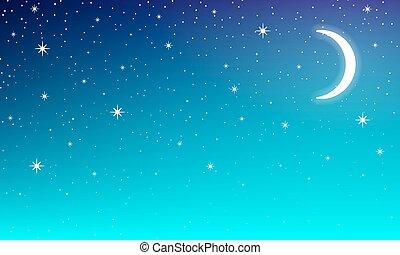 Mon in nigt star sky - Moon in the night starry sky, vector...