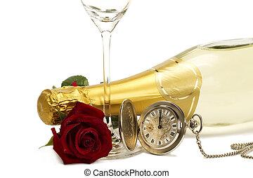 Bagnato, rosso, rosa, sotto, champagne, bottiglia, vecchio,...