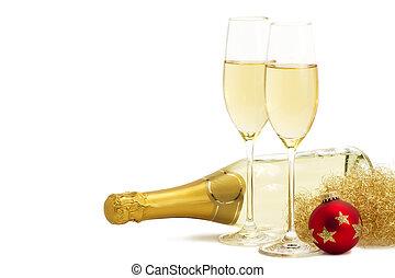 due, occhiali, champagne, angeli, capelli, rosso, Natale,...