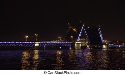 Bridge with illumination over the river at night - Opening...
