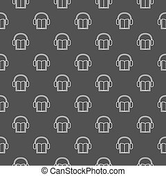 Dark minimal audiobook pattern. Vector outline book with...