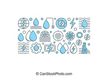 Creative hydropower banner. Vector renewable energy and...