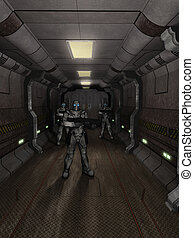 Future Soldiers Guarding the Hangar - Science fiction...