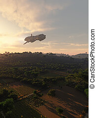 Interplanetary Spaceship over Rural Landscape - Science...