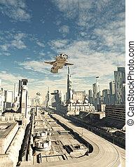 Interstellar Spaceship on Final Landing Approach