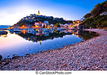Town of Vrbnik harbor view morning glow, Island of Krk,...