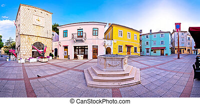 Town of Krk historic main square panoramic view, Kvarner...