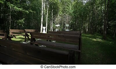 Wedding ceremony decoration in forest