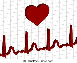 Electrocardiogram graph - heart above an electrocardiogram...