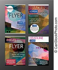 Set Flyer Design Abstract Polygonal. Business Template for Flyer, Banner,