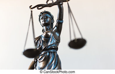 Statue of Justice symbol, legal law concept image - Close-up...