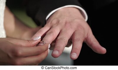 Bride and groom exchanging wedding rings on ceremony...