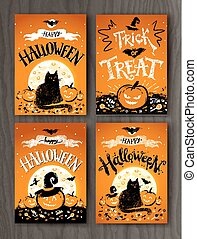 Halloween and Trick or Treat postcards - Happy Halloween and...