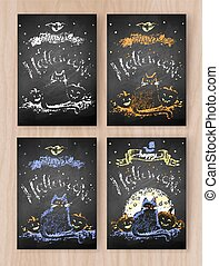 Vector collection of Halloween postcards - Vector collection...