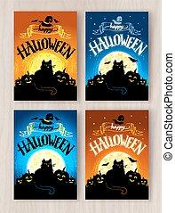 Happy Halloween postcards designs set - Happy Halloween...