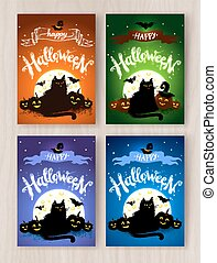 Happy Halloween postcards designs collection with black cat...