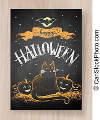 Halloween postcard color chalked design with lettering,...