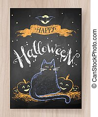 Halloween postcard color chalked design with black cat and...