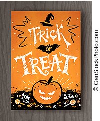 Trick or Treat Halloween postcard design with lettering,...