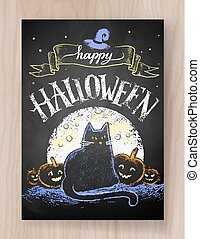 Halloween postcard color chalked design with black cat, moon...