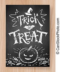 Trick or Treat Halloween postcard chalked design with...