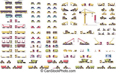 Vector isometric low poly transport set - Vector isometric...