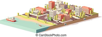 Vector low poly 2d buildings and city scene - Vector low...