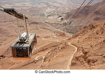 Masada cableway - Israel - Desert landscape with cable car...